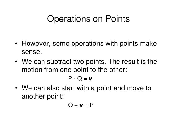 Operations on Points