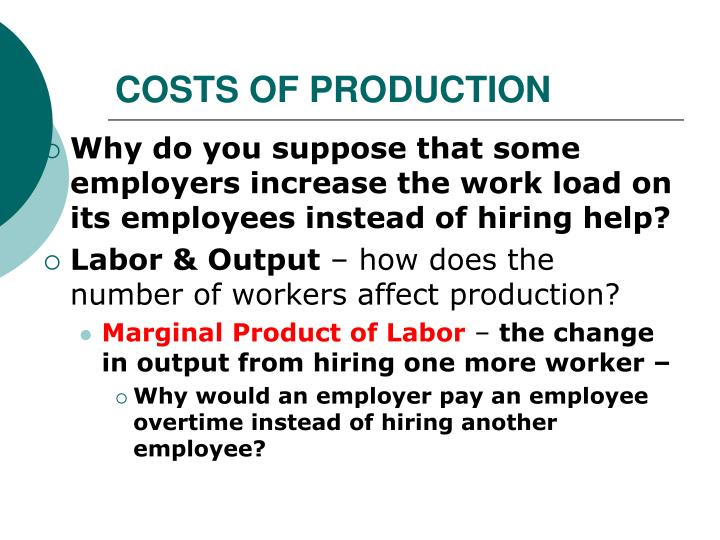 COSTS OF PRODUCTION
