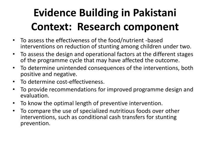 Evidence Building in Pakistani Context:  Research component
