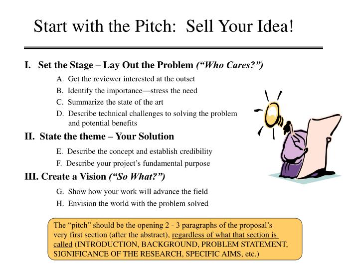 Start with the Pitch:  Sell Your Idea!