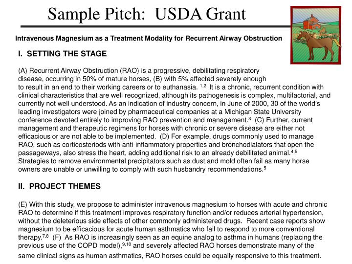 Sample Pitch:  USDA Grant
