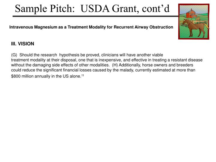 Sample Pitch:  USDA Grant, cont'd