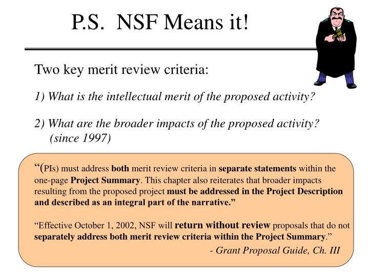 P.S.  NSF Means it!