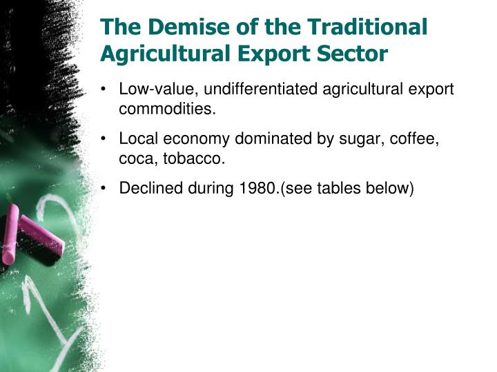 The Demise of the Traditional Agricultural Export Sector