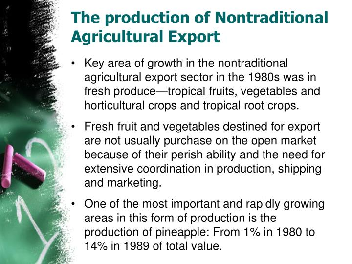 The production of Nontraditional Agricultural Export