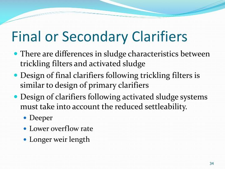 Final or Secondary Clarifiers