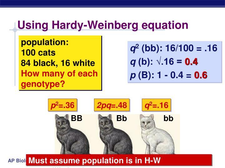 Using Hardy-Weinberg equation