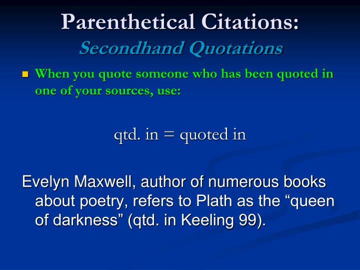 Parenthetical Citations: