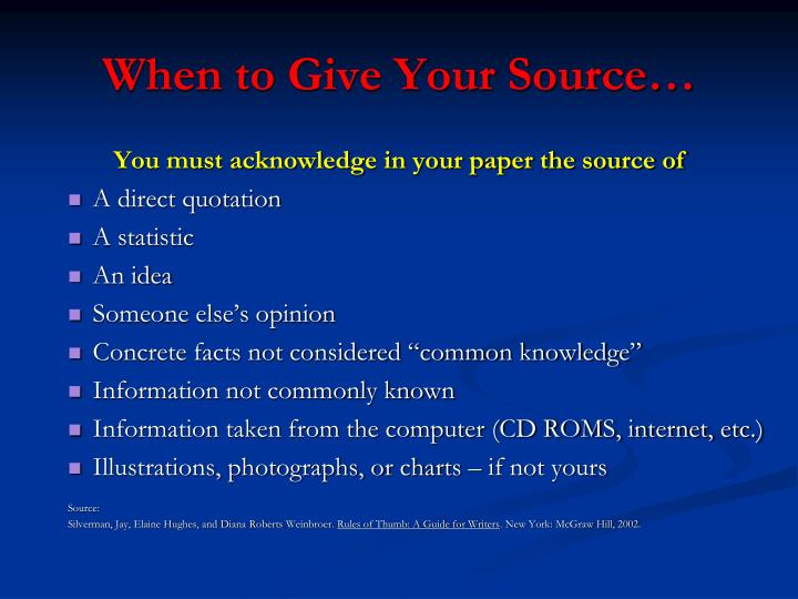 When to give your source