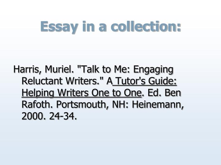 Essay in a collection: