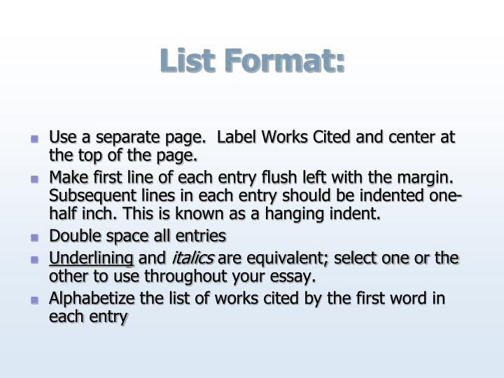 List Format: