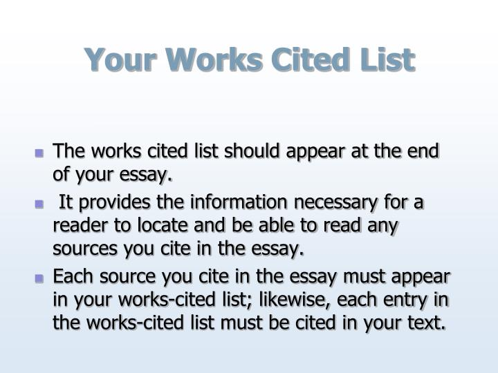 Your Works Cited List