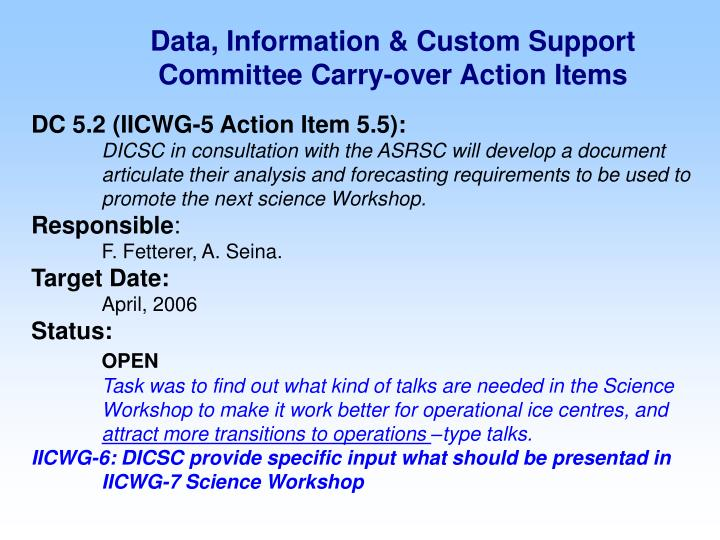Data information custom support committee carry over action items1