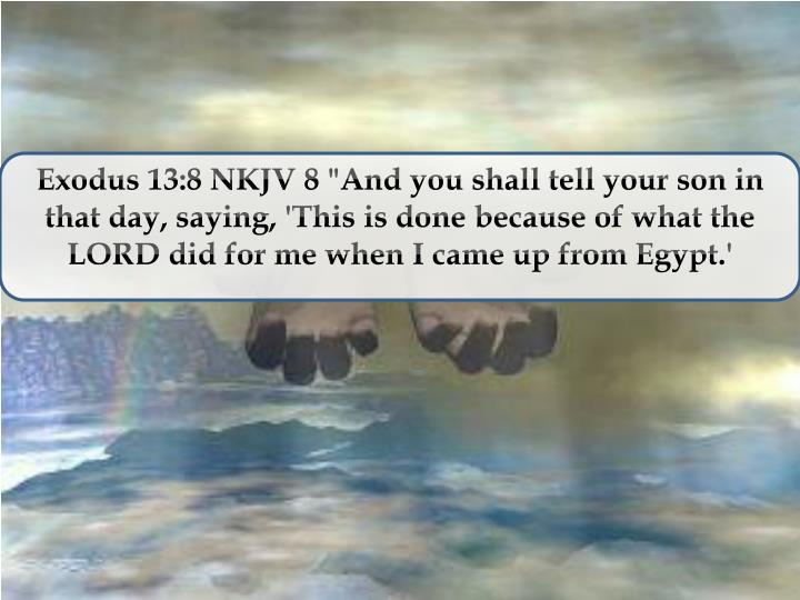 "Exodus 13:8 NKJV 8 ""And you shall tell your son in that day, saying, 'This is done because of what the LORD did for me when I came up from Egypt.'"