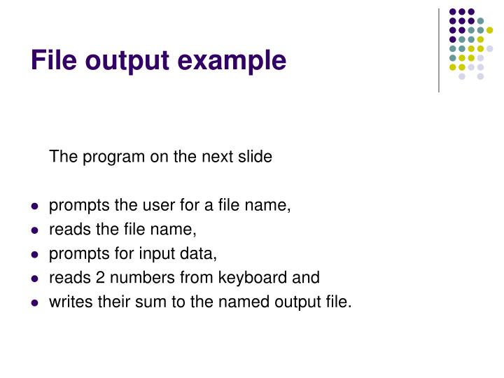 File output example