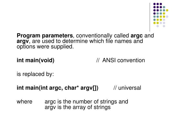 Program parameters