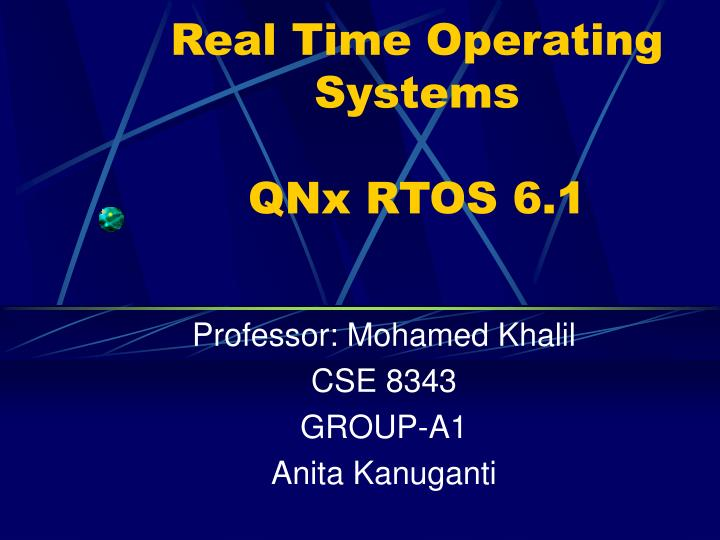 Real time operating systems qnx rtos 6 1