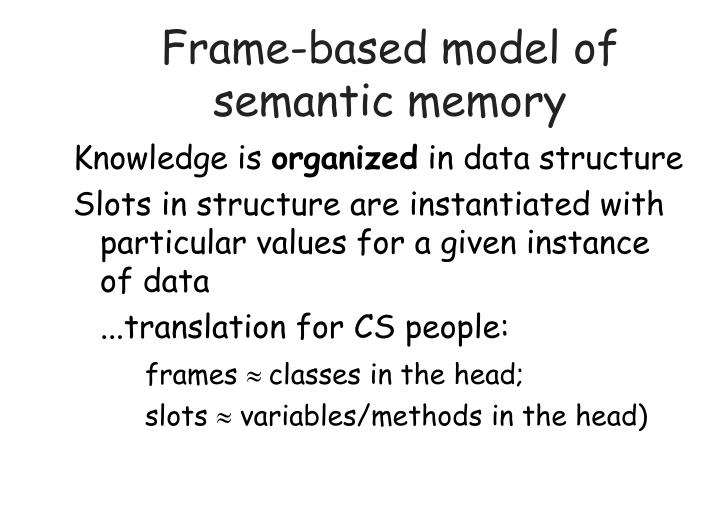 Frame-based model of semantic memory