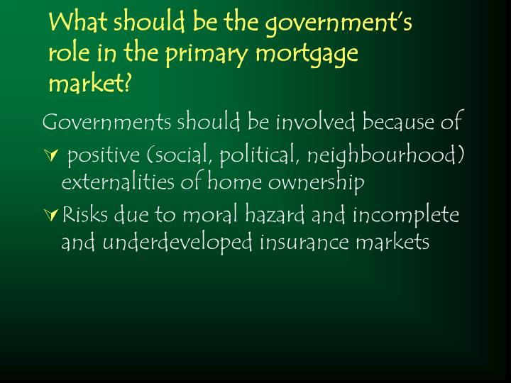 What should be the government s role in the primary mortgage market1
