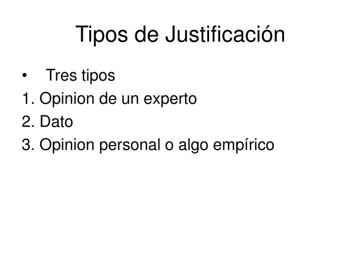 Tipos de Justificación