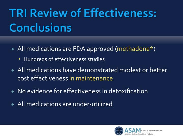 TRI Review of Effectiveness: Conclusions