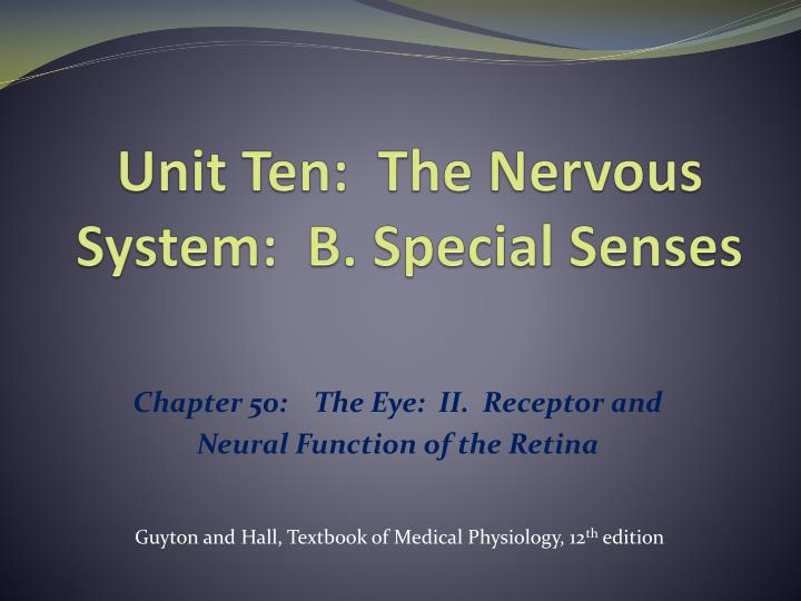 Unit ten the nervous system b special senses