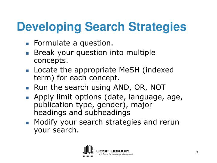Developing Search Strategies