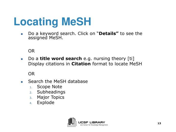 Locating MeSH