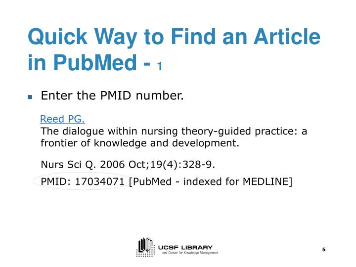 Quick Way to Find an Article in PubMed -