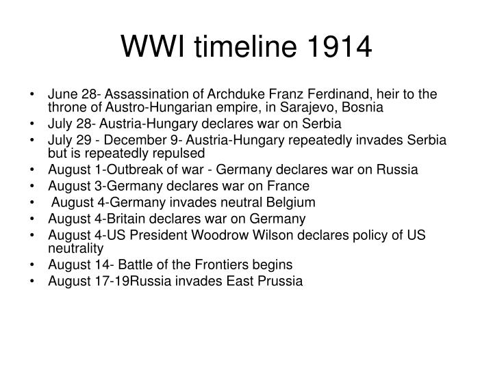 PPT - WWI major events and timeline PowerPoint Presentation - ID ...