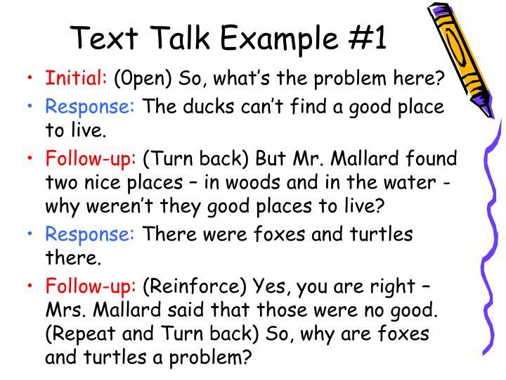 Text Talk Example #1