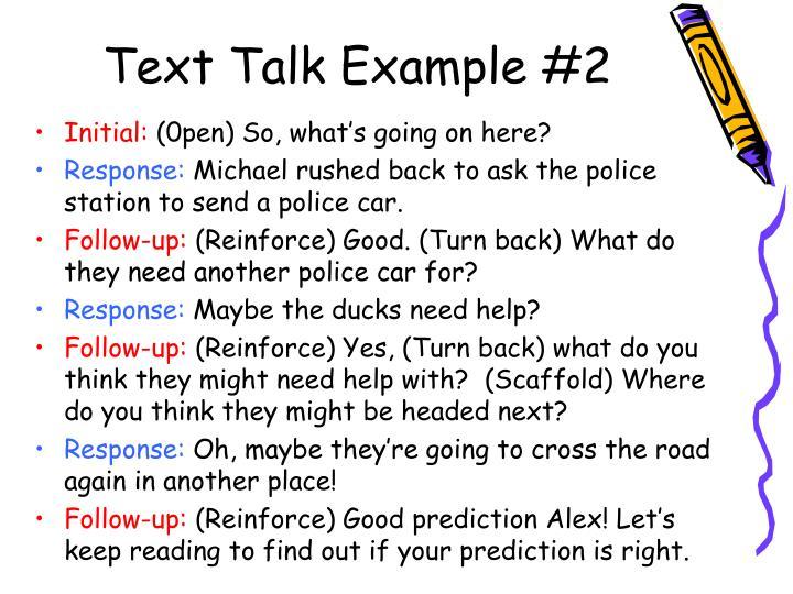 Text Talk Example #2