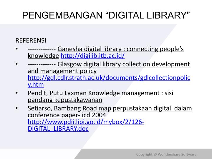 Pengembangan digital library