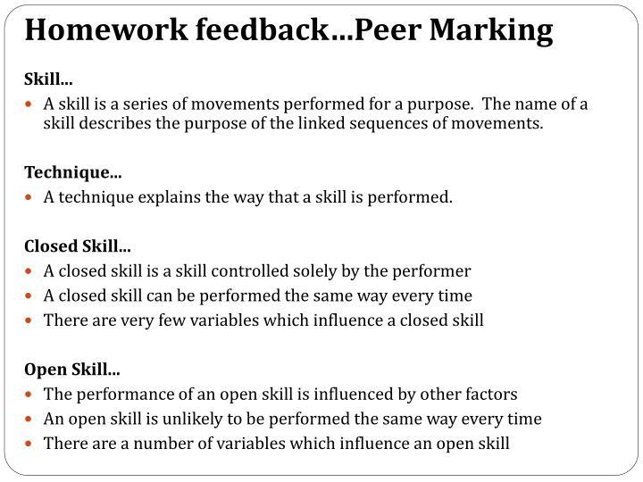 Homework feedback…Peer Marking