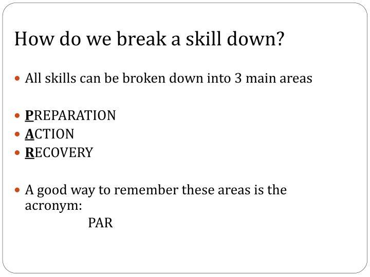 How do we break a skill down?