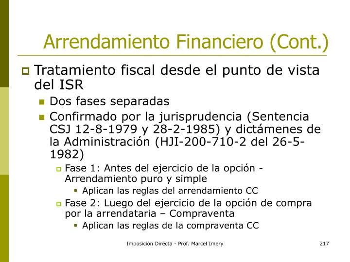 Arrendamiento Financiero (Cont.)
