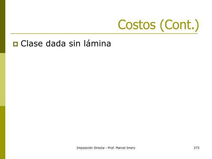 Costos (Cont.)