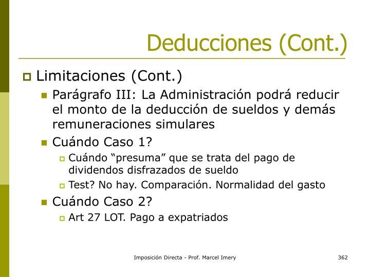 Deducciones (Cont.)