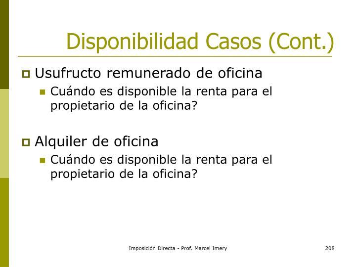 Disponibilidad Casos (Cont.)