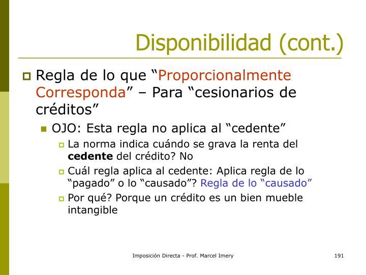 Disponibilidad (cont.)