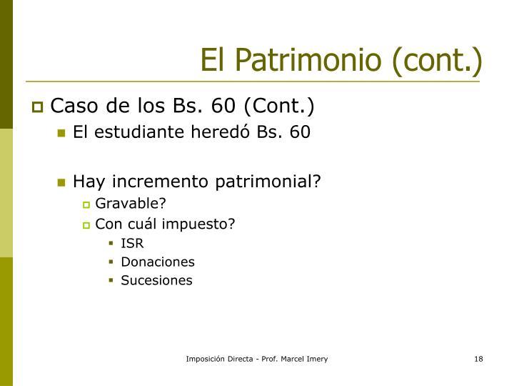 El Patrimonio (cont.)