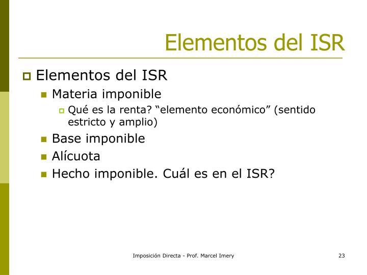 Elementos del ISR