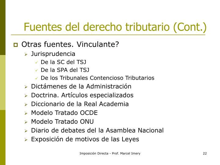 Fuentes del derecho tributario (Cont.)
