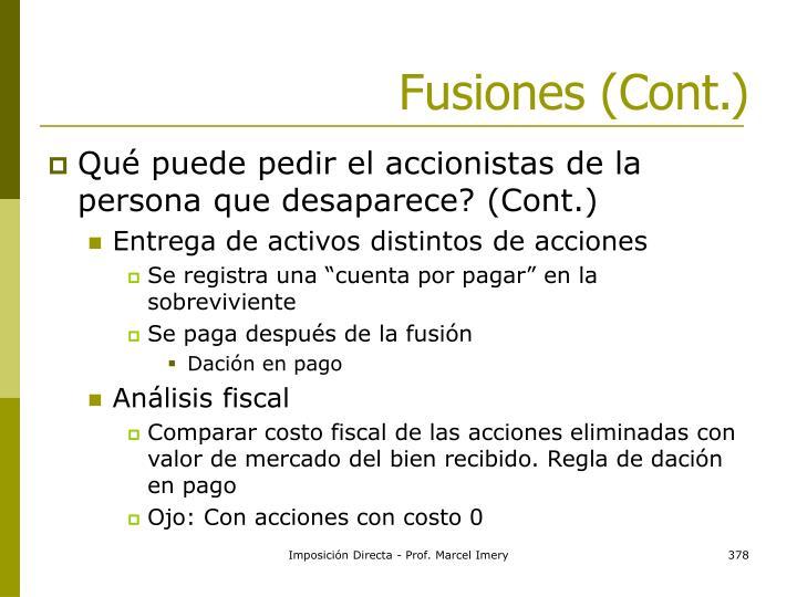 Fusiones (Cont.)