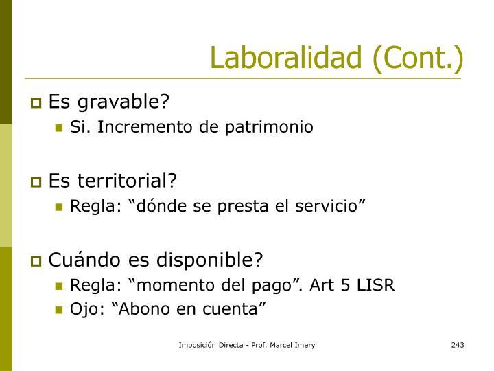 Laboralidad (Cont.)