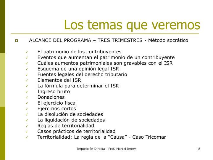 ALCANCE DEL PROGRAMA – TRES TRIMESTRES - Método socrático