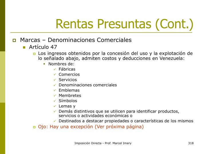 Rentas Presuntas (Cont.)