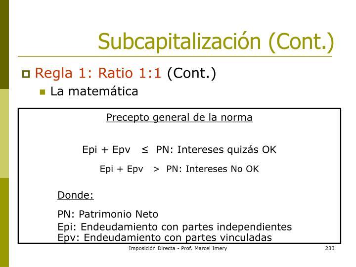 Subcapitalización (Cont.)