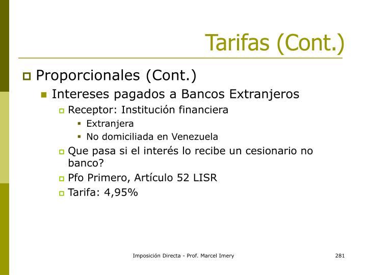 Tarifas (Cont.)