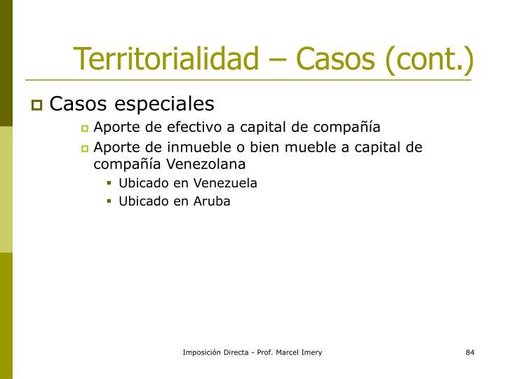 Territorialidad – Casos (cont.)